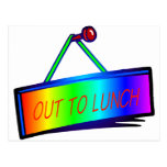 Out to lunch sign theme postcards
