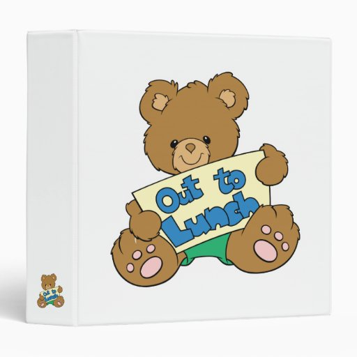 Out to Lunch Teddy Bear Vinyl Binder