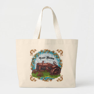 Out To Pasture Farmer Tractor custom name tote bag