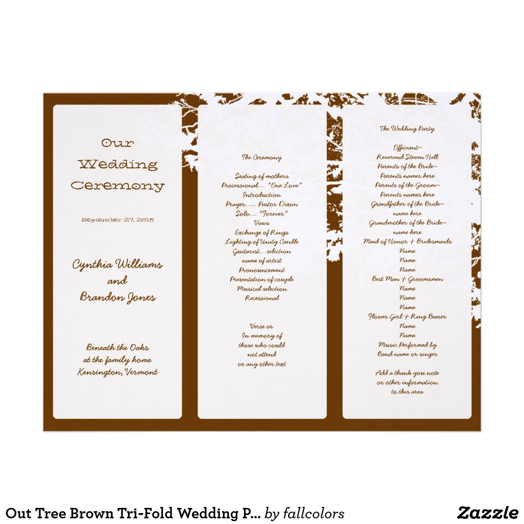 Tri Fold Wedding Program Templates Images