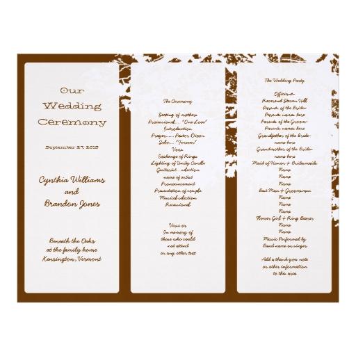 Out Tree Brown Tri Fold Wedding Program Template Letterhead