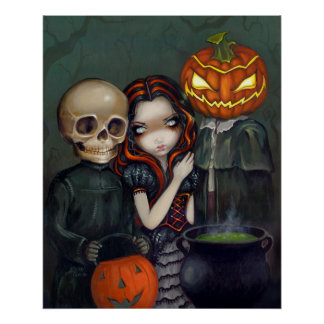 Out Trick or Treating halloween Art Print