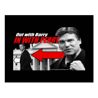 Out with Barry - In with Perry Postcards