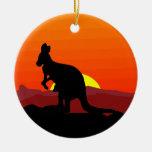 Outback Australian Kangaroo at Sunset Christmas Ornaments