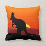 Outback Australian Kangaroo at Sunset Throw Pillows