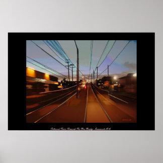 Outbound Train Descends The Bee Bridge-Sacramento  Poster
