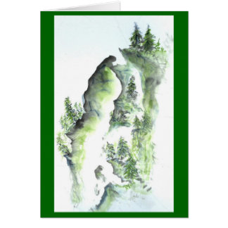 Outcrop Falls, Sumi-e in color Card