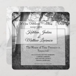 Outdoor Black & White Wedding Invitations