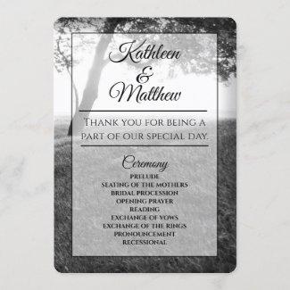 Outdoor Black & White Wedding Programs