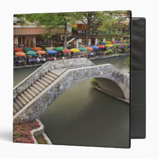 Outdoor cafe along River Walk and bridge over 2 3 Ring Binders