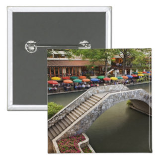 Outdoor cafe along River Walk and bridge over 2 Pinback Buttons