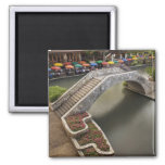 Outdoor cafe along River Walk and bridge over 2 Inch Square Magnet