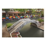 Outdoor cafe along River Walk and bridge over 2 Photo Print