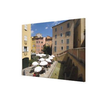 Outdoor café, Place de l'Eveche, Grasse, Canvas Print