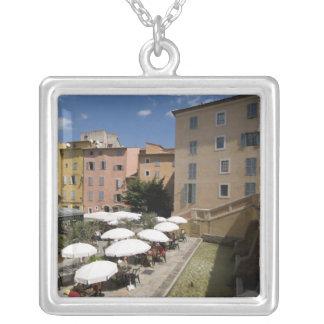 Outdoor café, Place de l'Eveche, Grasse, Silver Plated Necklace