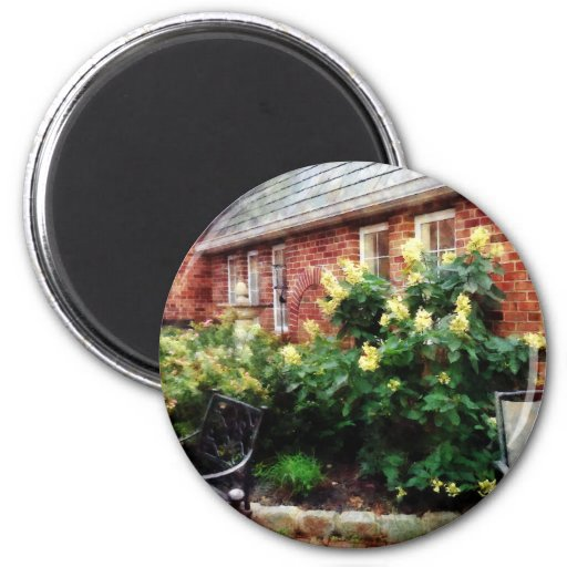 Outdoor Cafe With Hydrangea 2 Inch Round Magnet