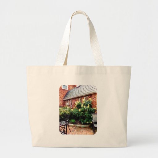 Outdoor Cafe With Hydrangea Jumbo Tote Bag