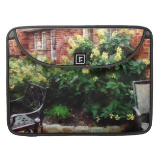 Outdoor Cafe With Hydrangea Sleeve For MacBooks