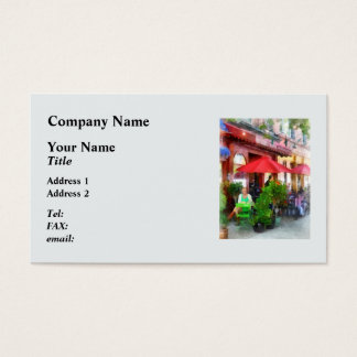 Outdoor Cafe With Red Umbrellas Business Card