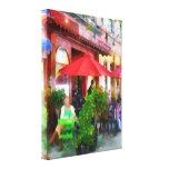 Outdoor Cafe With Red Umbrellas Gallery Wrap Canvas