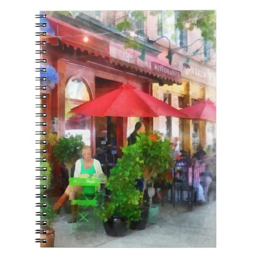Outdoor Cafe With Red Umbrellas Note Books