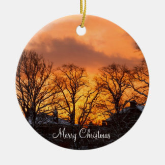 Outdoor Christmas Ornaments With Sunset