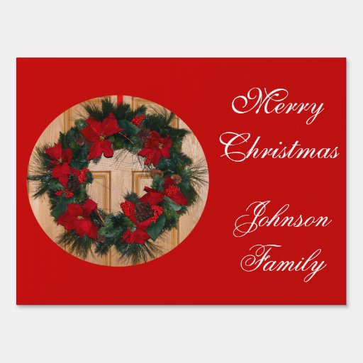 Outdoor christmas signs christmas wreath medium zazzle for Outdoor christmas signs