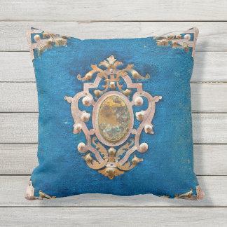Outdoor cushion abstract aqua magic gem lookpillow