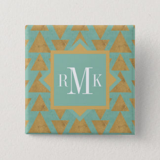 Outdoor Geo Step | Gold & Teal Pattern Pinback Button