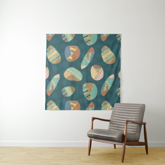 Outdoor Geo XII | Blue & Green Geometric Pattern Tapestry