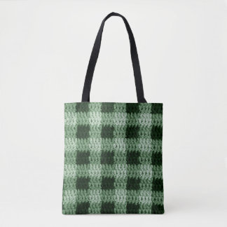 Outdoor Green Shades Gingham Plaid Pattern Crochet Tote Bag