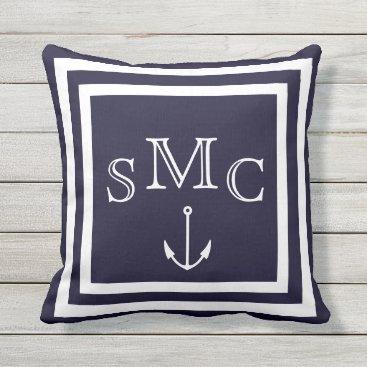 Beach Themed outdoor indoor MONOGRAM Solid dark blue & white Throw Pillow