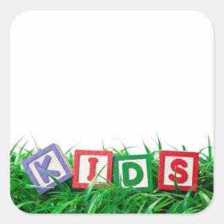Outdoor kids square sticker