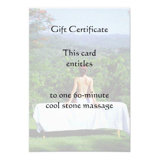 Outdoor massage gift certificate 35x5 paper invitation card zazzle for Zazzle gift certificate