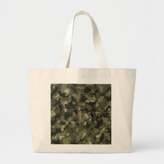 Outdoor military camo camouflage mallard duck large tote bag