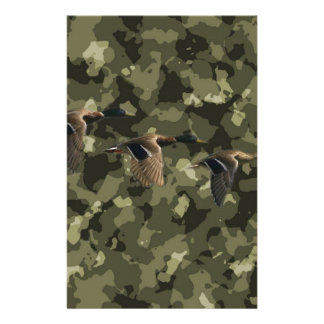 Outdoor military camo camouflage mallard duck stationery