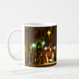 Outdoor nativity scene coffee mug
