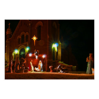 Outdoor nativity scene print