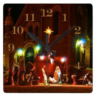 Outdoor nativity square wall clock