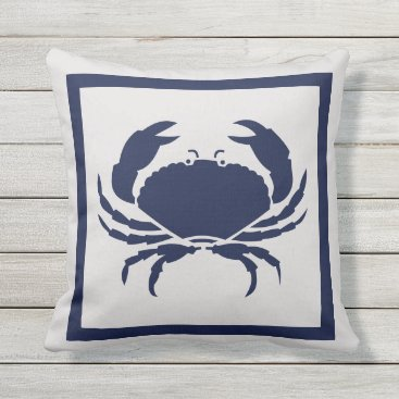 Beach Themed Outdoor Nautical CRAB Navy Blue on grey Outdoor Pillow