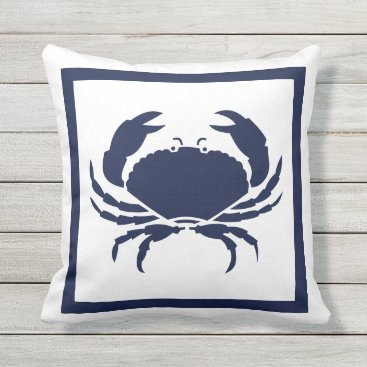 Beach Themed Outdoor Nautical CRAB Navy Blue on white Outdoor Pillow
