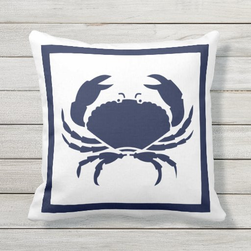 Outdoor Nautical Crab White Navy Reversable Outdoor Pillow