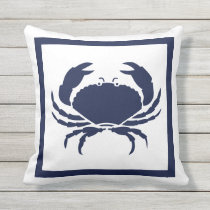 Outdoor Nautical CRAB white navy reversable Outdoor Pillow