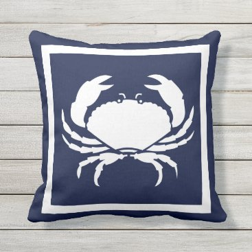 Beach Themed Outdoor Nautical CRAB white navy reversable Outdoor Pillow