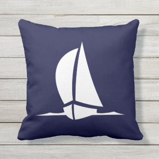 Outdoor or chose indoor white sailboat navy blue throw pillow