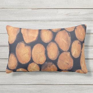 outdoor or indoor abstract wood logs lumbar pillow