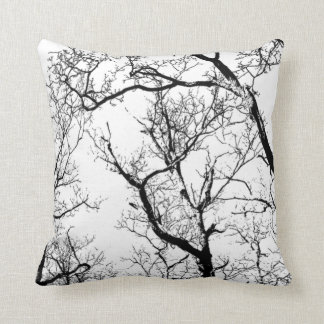 outdoor or indoor black white abstract tree throw pillow