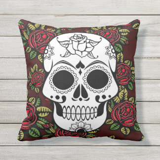 Outdoor patio cushion Retro skull roses red pillow