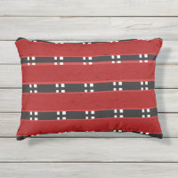Outdoor Pillow RED/BLACK BARS