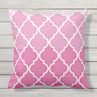 Outdoor Pink Quatrefoil Throw Pillow